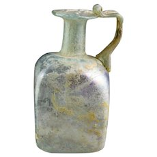 High quality square sided Glass Jug, Roman Empire, 1st.-2nd. cent. AD