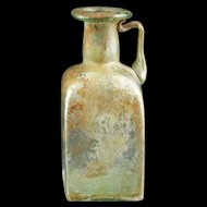 Choice square sided Glass Jug, Roman Empire, 1st.-2nd. cent. AD