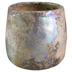Roman Glass Cup with spectacular Irridescence,1st.-3rd. century AD!