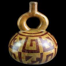 Attractive Pre-Columbian Moche pottery Stirrup vessel - gem!
