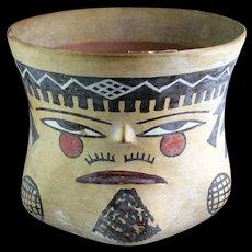 Pre-Columbian Nazca, Trophy Head Vase, 300-450 BC