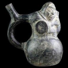 Rare Pre-Columbian Chimú Blackware pottery vessel w full TL report