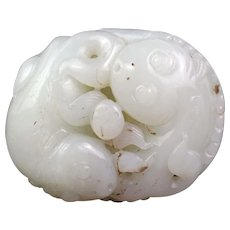 Large high quality Chinese White Nephrite jade pendant
