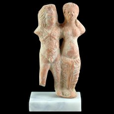 Greek terracotta figur of satyr and maenad, 3rd.-2nd. century BC
