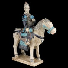 Ming Dynasty tomb pottery figure of a Military Horse Rider w. Grenades!