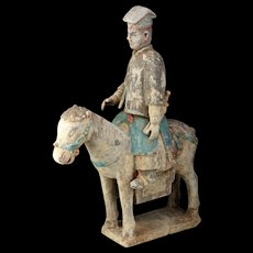 XL Ming Dynasty Military attendant seated on a horse, 1368-1644 AD!