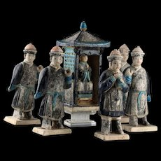 Ming Dynasty pottery Procession set w. palaquin, carriers and Mandarin