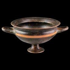 Superb Greek Pottery Blackware Stemmed Kylix, ca. 350 BC