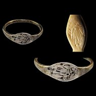Nice greek silver seal ring, 5th.-2nd. century BC