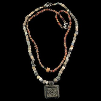 Pair of ancient Egyptian Necklaces in Carnelian stone and Faiance!