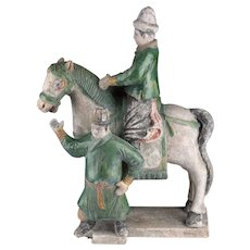 Rare Chinese Ming Dynasty pottery horseman w. attendant!