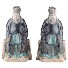 Set of two Chinese pottery seated pottery Officials, Ming Dynasty!