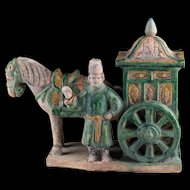 Ming Dynasty pottery Horse, Cart and Attendant, 1368-1644 AD