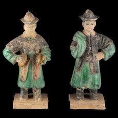 Interesting set of 2 Ming Dynasty pottery attendants. Rare Types!