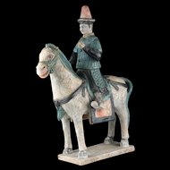 Huge Chinese Tomb pottery figure of a mounted soldier, Ming Dynasty!