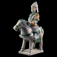 Fine Chinese Ming Tomb pottery figure of horseman w large mace!