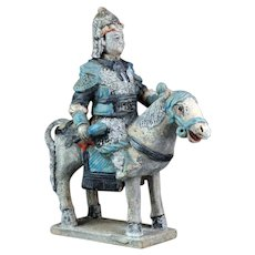 Chinese Ming Dynasty tomb pottery mounted warrior w hand-grenades!