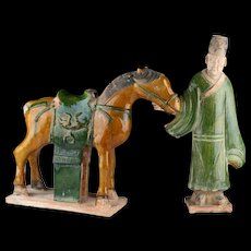 Interesting Ming Dynasty set of a pottery horse & attendant!