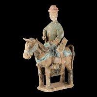 Impressive Ming Dynasty pottery attendant horse rider, 1368-1644!