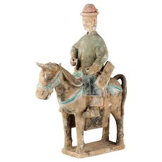Impressive Ming Dynasty pottery attendant horse rider, 1368-1644!