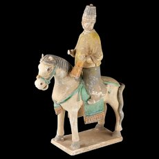Chinese Pottery Figure, Attendant on Horseback, MING DYNASTY