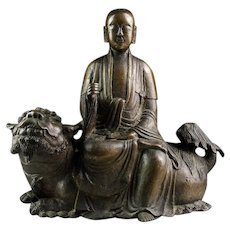 Massive important Buddhist Ming Dynasty bronze Buddha on lion!