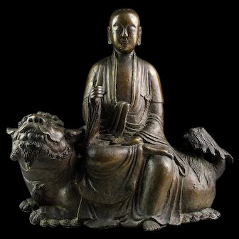 Massive important Buddhist Ming Dynasty bronze Buddha on lion!