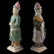 A rare set of two larger Chinese Ming Dynasty pottery attendants!