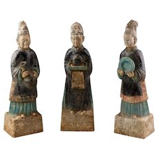 Rare set of 3 Chinese Ming Dynasty pottery Attendants