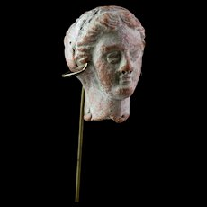 Choice Hellenistic Greek pottery head, ca. 3rd.-2nd. century BC