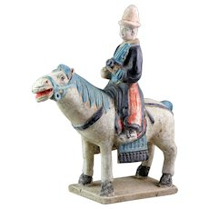 Chinese Ming Dynasty tomb pottery figure of musician on horseback