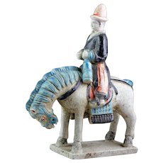 Chinese Ming Dynasty tomb pottery figure of musician on horseback!