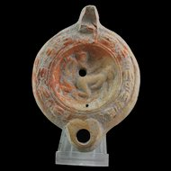 Rare large Roman terracotta Oillamp with Erotic motif, ca. 2nd. cent.!