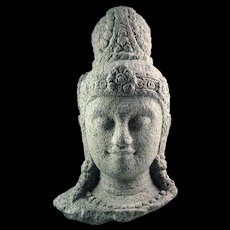 A Massive stone head of a Bodhisattva (Buddha), Java Indonesia, 9th. cent. AD