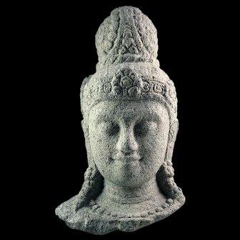 A Massive stone head of a Bodhisattva (Buddha), Java Indonesia, 9th. cent. AD