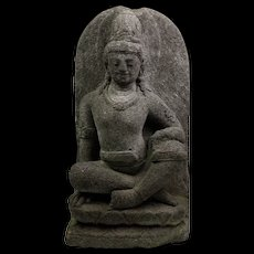 Wonderful stone figure of a Bodhisattva / Buddha, Java, 9th.-10th. cent.