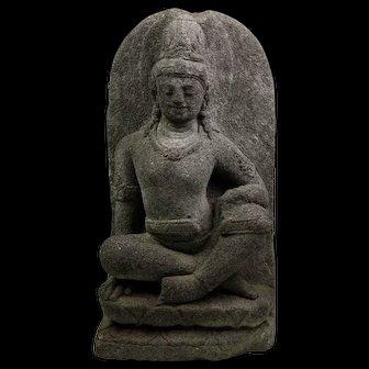Wonderful stone figure of a Bodhisattva / Buddha, Java, 9th.-10th. cent.
