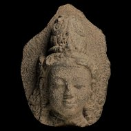 Superb stone head of a Bodhisattva, Java Indonesia, 9th. cent. AD