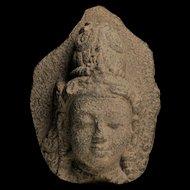 Superb stone head of a Bodhisattva, Java Indonesia, 9th. cent. AD