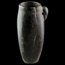 Elegant Egyptian black hardstone jar, Late Period!