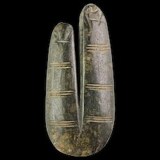Important Egyptian 'two-fingers' stone Amulet, late period!