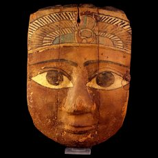 Large Egyptian wooden mummy mask with winged scarab!