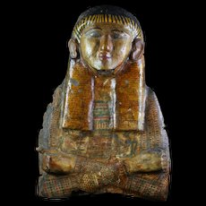 Museum Quality Egyptian wooden sarcophagus lid, Late period
