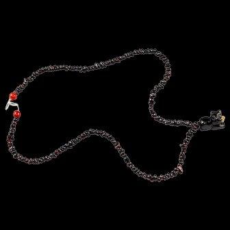 Western Asiatic Almandine Necklace w Lion Pendant 1st. mill. BC