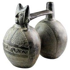 Massive Pre-columbian blackware double-chambered Chimu Pottery vessel!