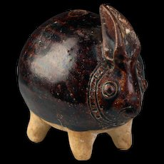 Khmer pottery Lime Pot in the shape of a Rabbit, c. 12th-13th Cent.