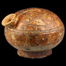 Beautiful Thai, Sawankhalok / Sukhothai pottery Lime Pot w. Fish motif