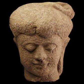Important near lifesize Stone head of Majahapit Kingdom, 14th. cent.
