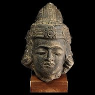 Rare Indonesian Hindu Hardstone head of a God, 8th.-11th. century