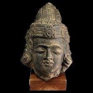 Rare Indonesian Hindu Hardstone head of a God, 8th.-11th. century